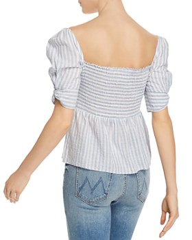 Saylor - Striped Puffed-Sleeve Top