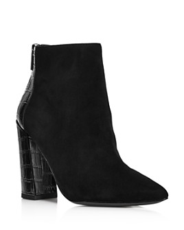 Charles David - Women's Suede & Croc-Embossed High-Heeled Ankle Booties