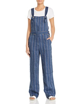 Tory Burch - Striped Linen Overalls