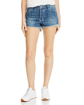 One Teaspoon - Bonita High-Rise Frayed Denim Shorts in Blue Rodeo