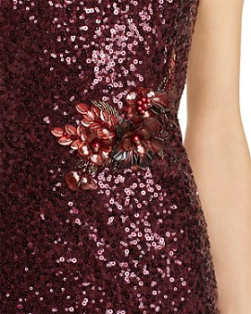Aidan Mattox - Sequin One-Shoulder Cocktail Dress