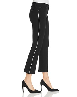 7 For All Mankind - High-Waist Slim-Kick Jeans in Jet Black with White Piping