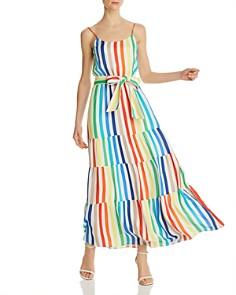 Alice and Olivia - Janan Tiered Rainbow-Stripe Maxi Dress