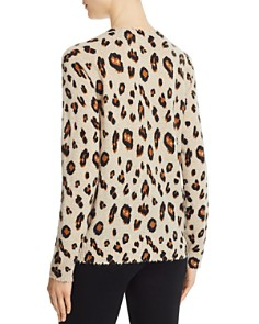 Minnie Rose - Distressed-Trim Leopard Print Cashmere Sweater
