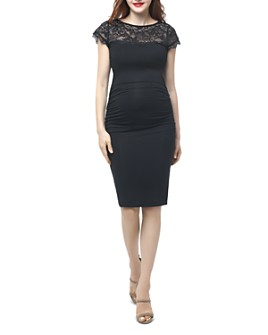 Kimi & Kai - Morgan Lace-Yoke Maternity Dress