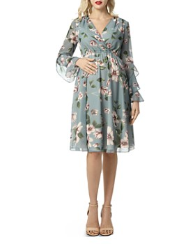 Kimi & Kai - Salena Floral-Print Crossover Maternity Dress