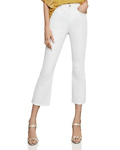 BCBGMAXAZRIA - High-Rise Cropped Bootcut Jeans in Optic White