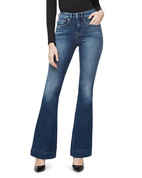 Good American - Flared Trouser-Hem Jeans in Blue293