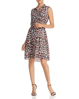 T Tahari - Leopard-Print Shirt Dress