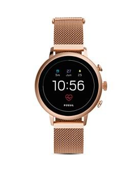 Fossil - Venture HR Rose Gold-Tone Mesh Bracelet Gen 4 Touchscreen Smartwatch, 40mm
