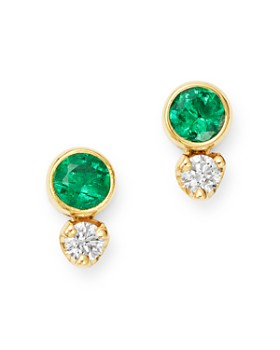 9e85dc8b6 Zoë Chicco - 14K Yellow Gold Emerald & Diamond Stud Earrings ...