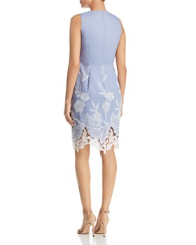 T Tahari - Embroidered Lace-Hem Dress