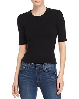 Minnie Rose - Elbow-Sleeve Rib-Knit Sweater