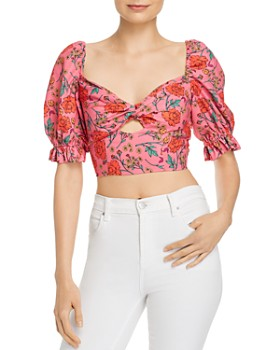 Finders Keepers - Hana Floral Twist-Front Cropped Top