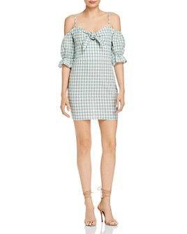 leRumi - Mia Tie-Detail Gingham Mini Dress