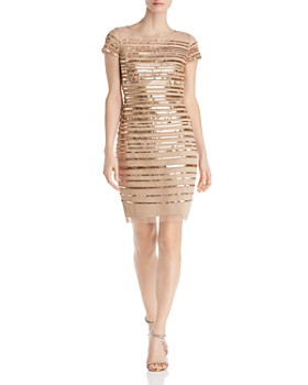 Adrianna Papell - Embellished Stripe Dress