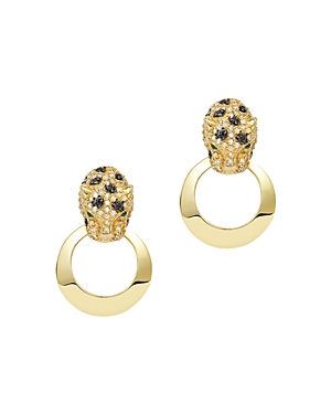 Bloomingdale's Black & White Diamond Panther Doorknocker Earrings in 14K Yellow Gold - 100% Exclusiv