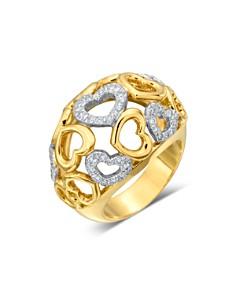 Gumuchian - 18K Yellow Gold Tiny Hearts Diamond Dome Ring