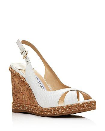 Jimmy Choo - Women's Amely 105 Woven Wedge Slingback Sandals
