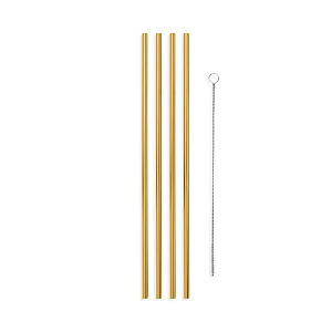 W & P Design 10 Metal Straws, Set of 4 with Cleaner