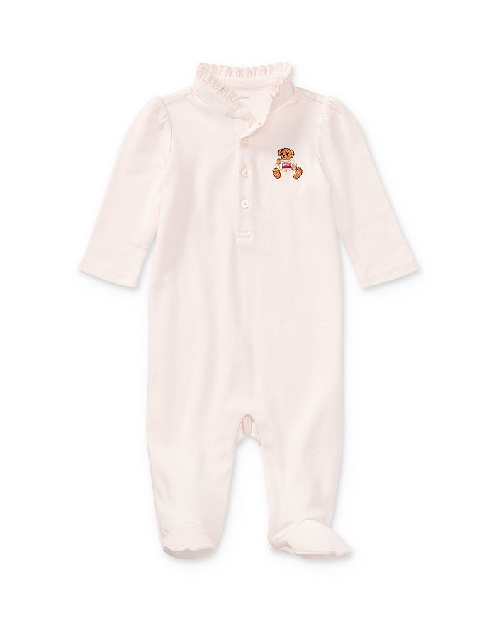 Ralph Lauren - Girls' Embroidered Polo Bear Coverall - Baby