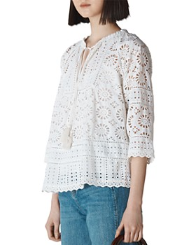 Whistles - Maggie Tie-Detail Broderie Anglaise Blouse