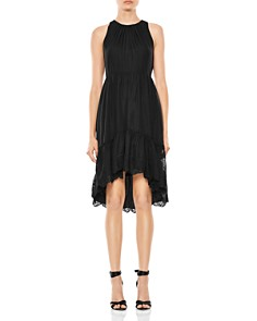 HALSTON HERITAGE - High/Low Embroidered-Hem Dress