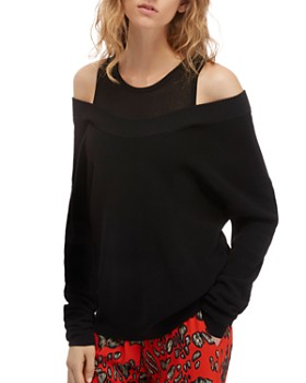Barbara Bui - Faux-Tank Underlay Cold-Shoulder Sweater