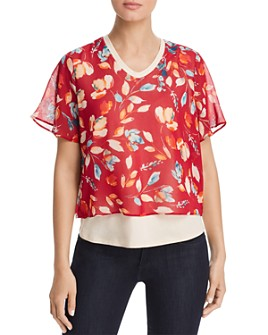 Donna Karan - Layered Floral-Print Top