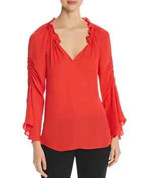 8a5524bec140f7 Kobi Halperin - Carolina Bell-Sleeve Silk Blouse ...