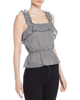7 For All Mankind - Gingham Ruffled Peplum Top