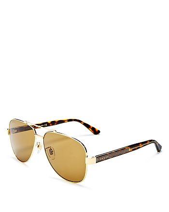 Gucci - Men's Brow Bar Aviator Sunglasses, 63mm