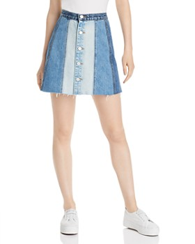 BLANKNYC - Patchwork Button-Front Denim Skirt