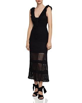 BCBGMAXAZRIA - Flounced Crochet Midi Dress