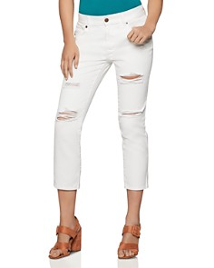 BCBGENERATION - Distressed Cropped Boyfriend Jeans in White