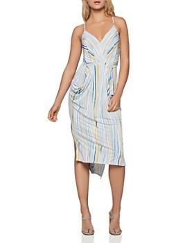 215895a12e6 BCBGENERATION - Striped Faux-Wrap Midi Dress ...