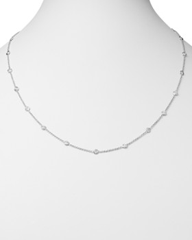 Roberto Coin - 18K White Gold Diamond by the Inch Station Necklace, 24""