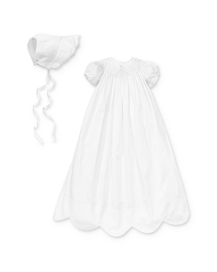 Kissy Kissy - Girls' Scalloped Christening Gown & Bonnet Set - Baby