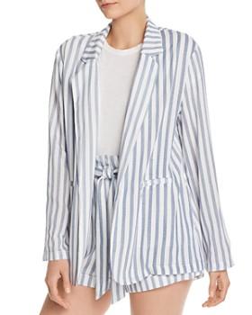 AQUA - Open-Front Striped Blazer - 100% Exclusive