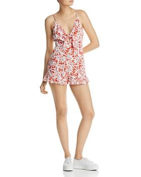AQUA - Tie-Front Floral Romper - 100% Exclusive