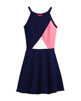 AQUA - Girls' Geometric Color-Block Dress, Big Kid - 100% Exclusive