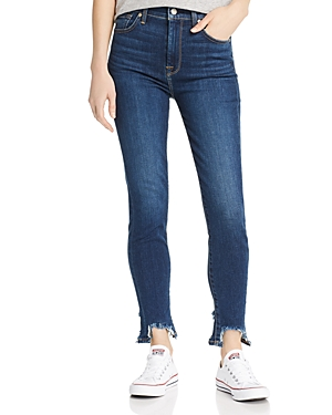 7 For All Mankind Step-Hem Distressed Ankle Skinny Jeans In Midnight Dark