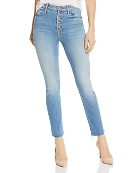 MOTHER - Pixie Dazzler Ankle Fray Straight-Leg Jeans in Shoot To Thrill