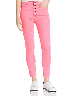 Alice + Olivia Good High-Rise Button Fly Skinny Jeans in Hot Pink