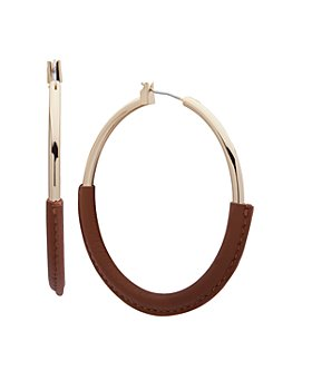Ralph Lauren - Large Leather-Wrapped Hoop Earrings