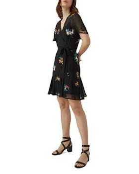 KAREN MILLEN - Embroidered Faux-Wrap Dress