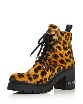 Miu Miu - Women's Never Mind Crystal Block Heel Hiking Boots