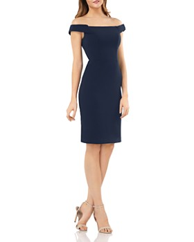 Carmen Marc Valvo Infusion - Off-The-Shoulder Crepe Sheath Dress