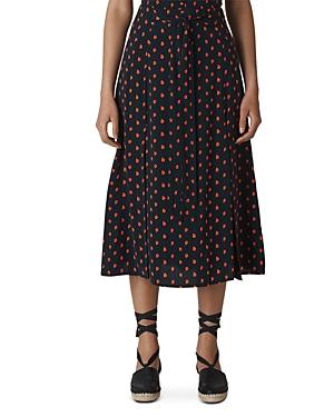 Whistles Scattered-Leaf Midi Skirt