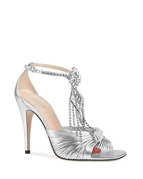 464e675cf Gucci - Women's Crawford Metallic Leather Sandals with Crystal Chain ...